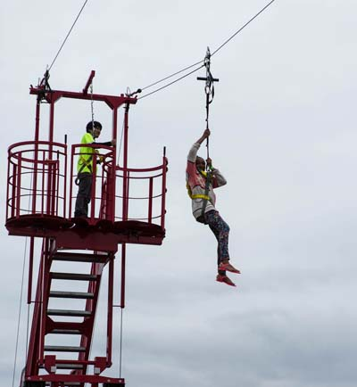 Riding the zip-line excites everyone.