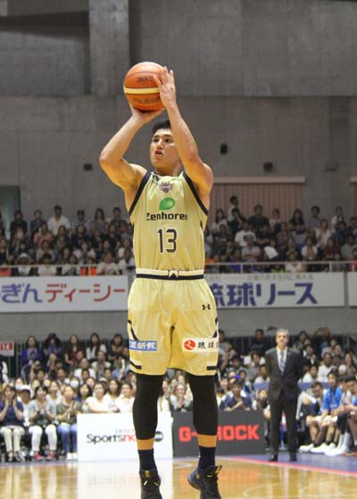 Syota Tsuyama aims to score.